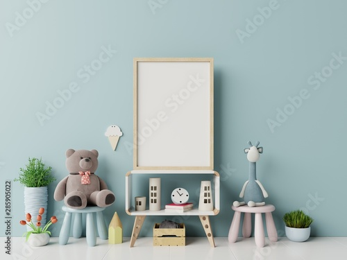 Mock up posters in child room interior. - 285905022