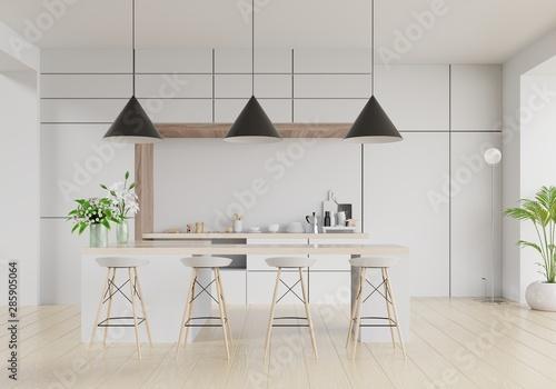 Photo  Modern kitchen room interior,Modern restaurant room,Modern coffee shop interior on white wall background