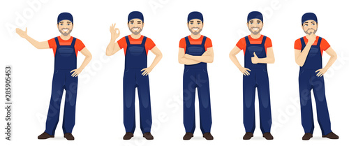 Man in blue overalls set with different gestures isolated vector illustration