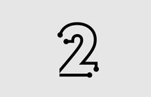 Number 2 Logo Design With Line...
