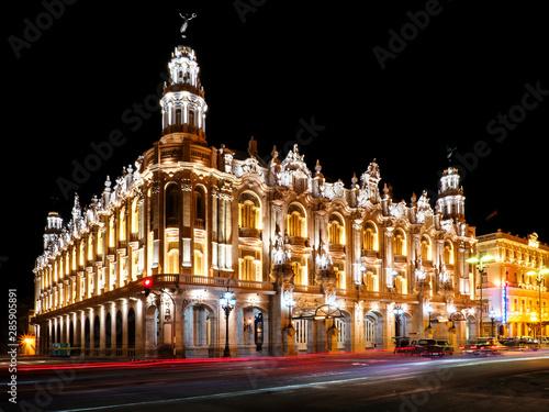 The Gran Teatro de La Habana Alicia Alonso at night, Havana, Cuba Canvas Print
