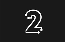 2 Number Black And White Logo Design With Line And Dots