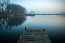 Jetty Made Of Planks, Trees An...