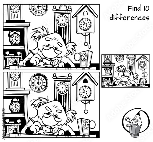 Watchmaker repairing broken old watch. Find 10 differences. Educational matching game for children. Black and white cartoon vector illustration Wall mural