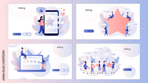 Obraz Star rating concept. Customer reviews. Screen template for mobile smart phone, landing page, template, ui, web, mobile app, poster, banner, flyer. Modern flat cartoon style. Vector illustration - fototapety do salonu