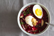 cold summer soup with beets and place for text