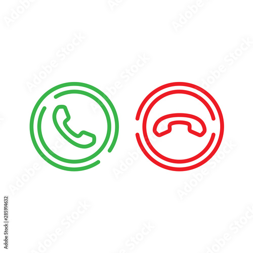 Fotografia, Obraz  Vector set phone call line icons
