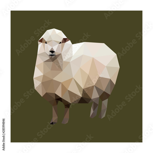 Photo Colorful polygonal style design of sheep