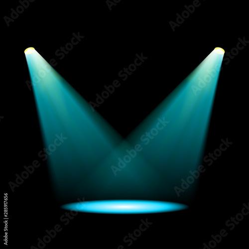 Fototapeta Glowing blue spotlights obraz na płótnie