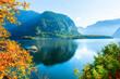 Hallstatter lake in Alps mountains at sunrise, Austria. Beautiful autumn landscape