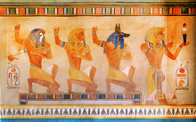 Ancient Egypt Scene, Mythology. Egyptian Gods And Pharaohs.