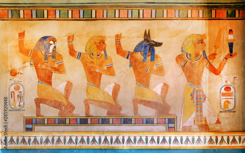 Photo Ancient Egypt scene, mythology. Egyptian gods and pharaohs.