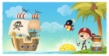 Pirate Boy With Ship On An Isl...