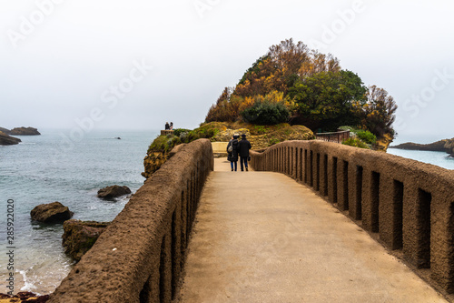 Bridge connecting the Rocher du Basta (Rock of Basta), Biarritz, France, Canvas Print