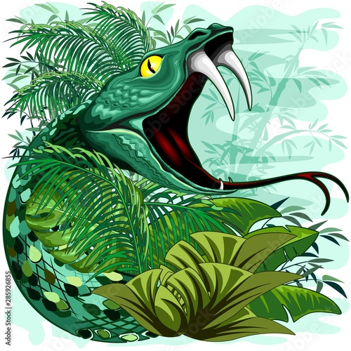 Foto op Canvas Draw Snake Spirit in Rainforest Jungle Vector Illustration