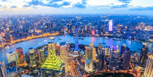 Montage in der Fensternische Shanghai Aerial view and skyline of Shanghai cityscape