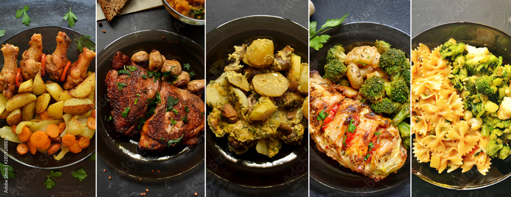 Fototapety, obrazy: Collage of appetizing bright food. Meat and vegetables. Chicken wings and broccoli. Potatoes and salad.
