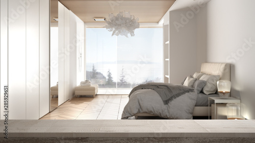 Wooden vintage table top or shelf closeup, zen mood, over contemporary minimalist bedroom with double bed, shower and big panoramic window, white architecture interior design