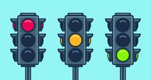 Traffic Light Icon Set. Flat S...