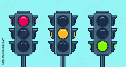 Traffic light icon set. Flat style Wallpaper Mural