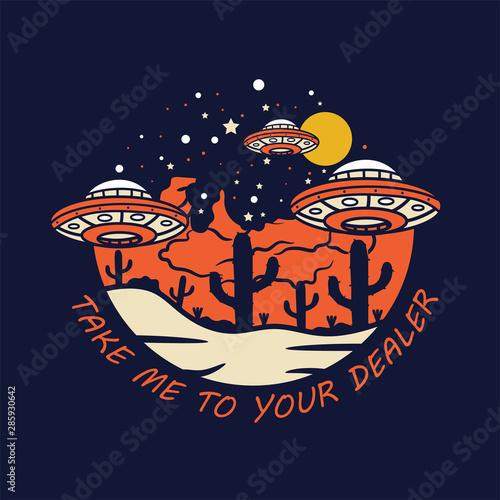 Billede på lærred Alien Plane Invasion Earth Illustration