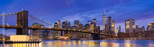 Canvas Prints Dark blue Brooklyn bridge New York