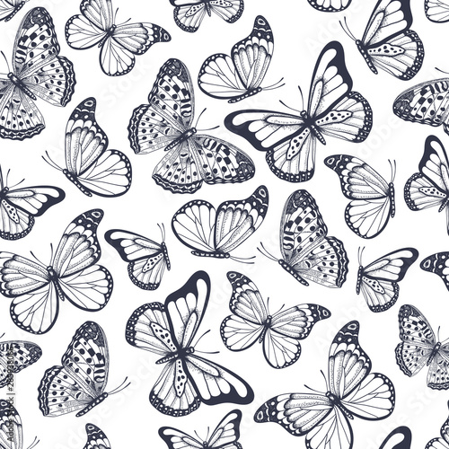 fototapeta na szkło Hand drawn seamless pattern with outline butterflies