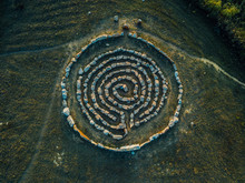 Spiral Labyrinth Made Of Stones, Top View From Drone