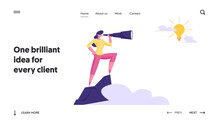 Business Vision, Recruitment Employee Website Landing Page. Businesswoman Stand On Top Of Mountain Watching To Spyglass On Light Bulb In Sky. Forecast Web Page Banner. Cartoon Flat Vector Illustration