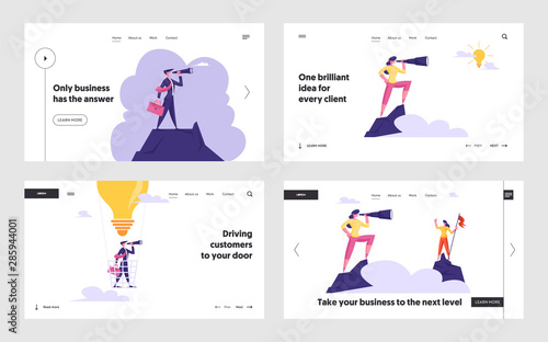 Obraz na plátně Business Idea, Innovation Vision Website Landing Page Set