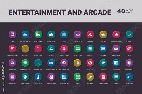 Fotomural  entertainment and arcade concept 40 colorful round icons set
