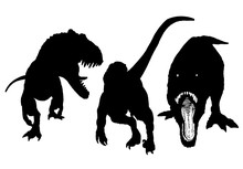 Graphical Set Of Dinosaur Silhouettes Isolated On White Background,vector Illustration