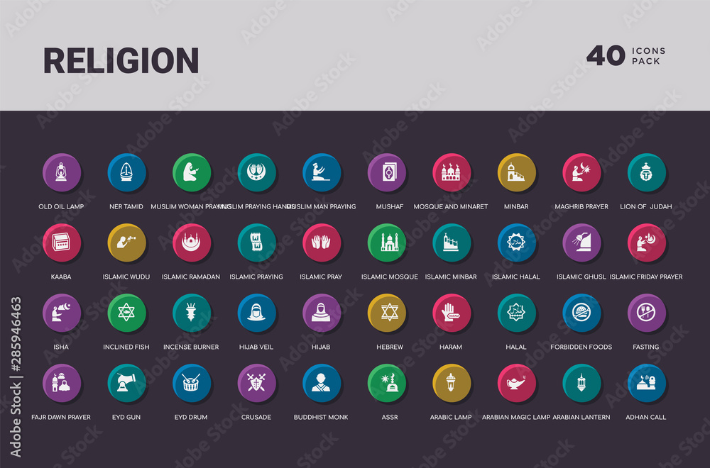 Fototapety, obrazy: religion concept 40 colorful round icons set