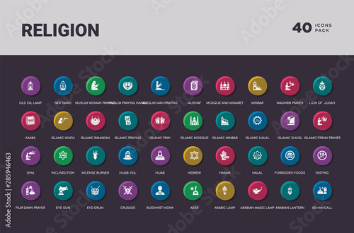 religion concept 40 colorful round icons set
