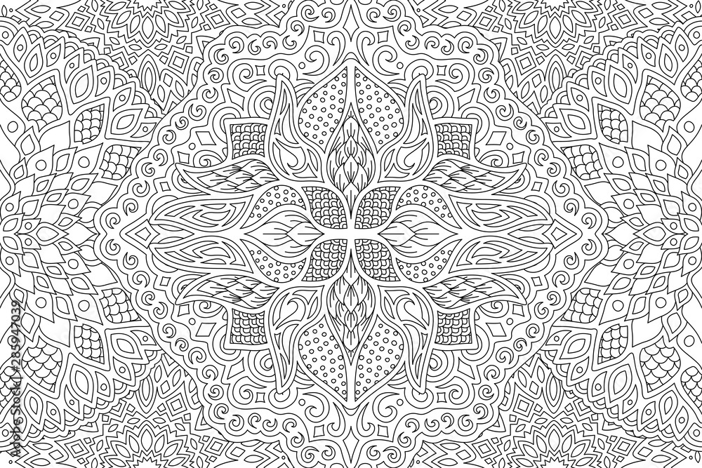 Fototapety, obrazy: Beautiful adult coloring book page with linear detailed monochrome abstract pattern