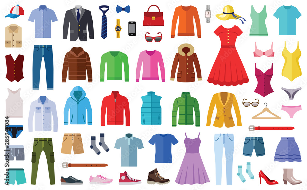 Fototapeta Woman and man clothes and accessories collection - fashion wardrobe - vector color illustration