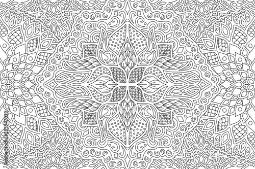 Fotografía  Beautiful adult coloring book page with linear detailed monochrome abstract patt