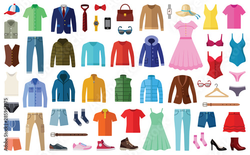 Obraz Woman and man clothes and accessories collection - fashion wardrobe - vector color illustration - fototapety do salonu