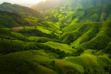 Aerial View. High Mountain Views And The Verdant Farmland Of The Countryside In Nan Province, Thailand