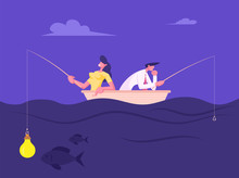 Businesspeople Catching Fish Sitting In Boat With Rods. Business Woman Having Glowing Light Bulb Instead Of Bait On Hook, Man Have No Lure, Fish Bite On Lightbulb. Cartoon Flat Vector Illustration