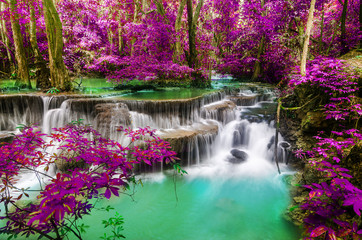 Fototapeta amazing of huay mae kamin waterfall in colorful autumn forest at Kanchanaburi, thailand