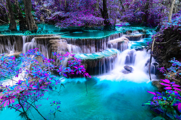 Obraz na Szkle Do Spa amazing of huay mae kamin waterfall in colorful autumn forest at Kanchanaburi, thailand