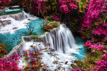 Fototapetaamazing of huay mae kamin waterfall in colorful autumn forest at Kanchanaburi, thailand