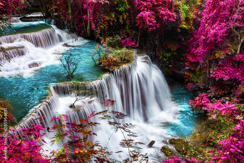 Fototapeta amazing of huay mae kamin waterfall in colorful autumn forest at Kanchanaburi, thailand obraz