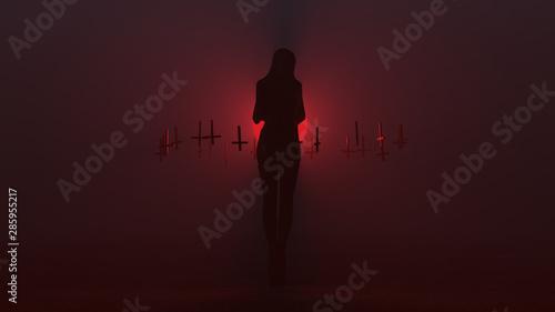 Stampa su Tela Black Seductive Demon in a Futuristic Haute Couture Shrink Wrapped Dress Waving