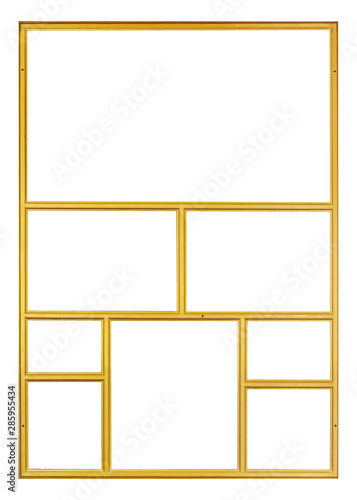 Fototapeta  Golden frame (polyptych) for paintings, mirrors or photos isolated on white back