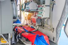 Inside Of Medical Helicopter With Emergency Life Support Equipment
