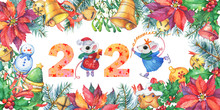 New Year Frame With A Christmas Tree, Poinsettia, Holly Berry, Bells. Inscription 2020 With A White Cute Little Mouse In Winter Clothes. Cartoon Watercolor Hand Drawn Painting Illustration, Isolated.