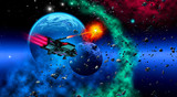 spaceship in space, flying near a planetary system, 3d illustration