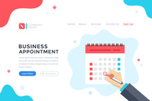 Business Appointment. Meeting, Schedule, Event Concept. Human Hand Mark The Date On Calendar. Modern Flat Design Graphic Elements For Web Banner, Landing Page Template, Website. Vector Illustration